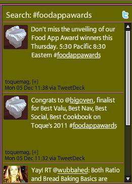 2011 Food App Winners Announced December 8 on Twitter #foodappawards